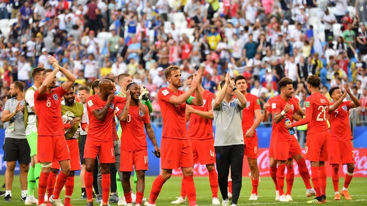 England's players thank the travelling supporters after a 2-0 win over Sweden.