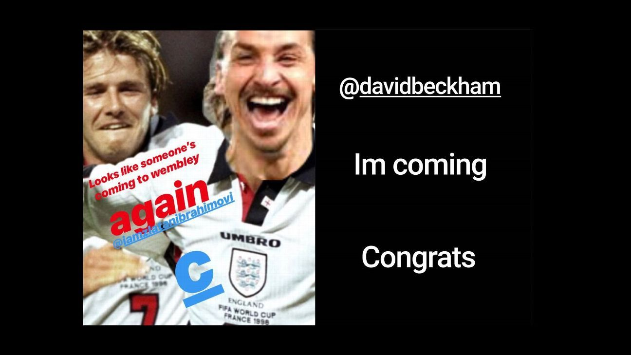 David Beckham posted the left image and Zlatan Ibrahimovic soon responded.
