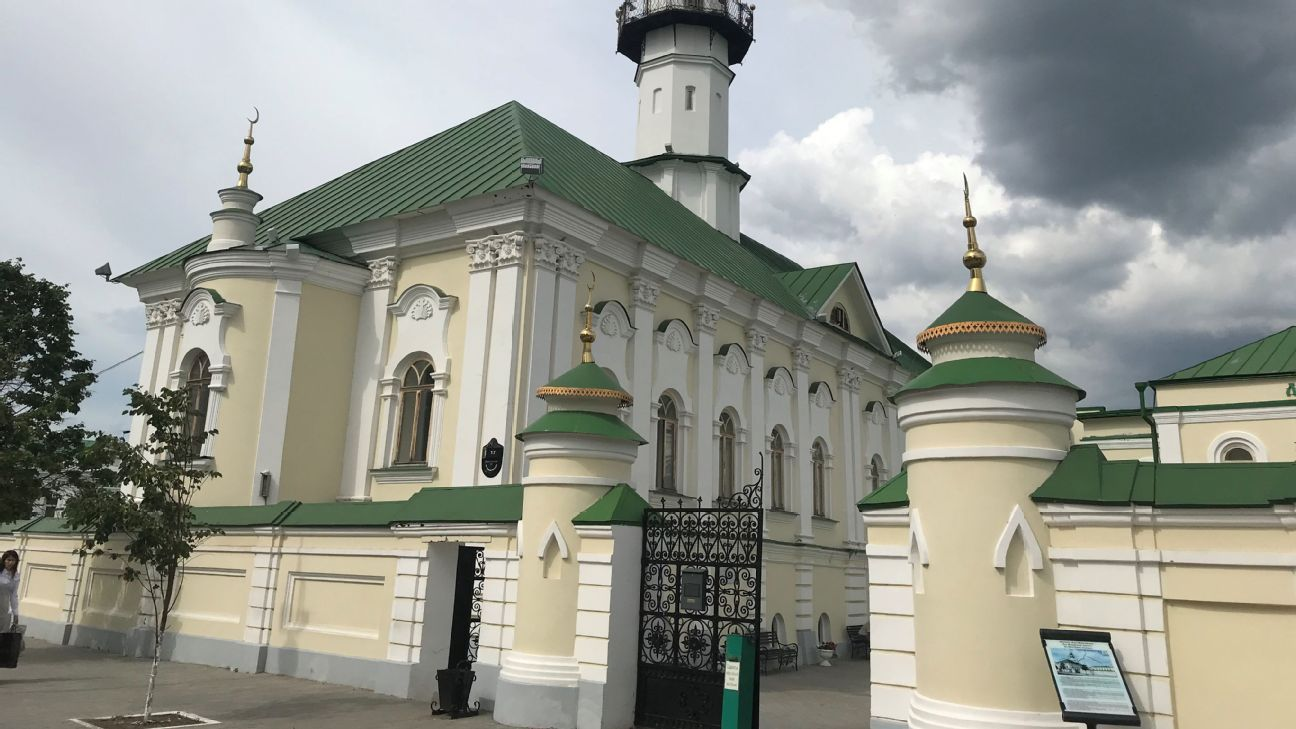 From the outside, the Mardzhani mosque could pass off as a mansion in Bavaria but this is the Tatar style of architecture.