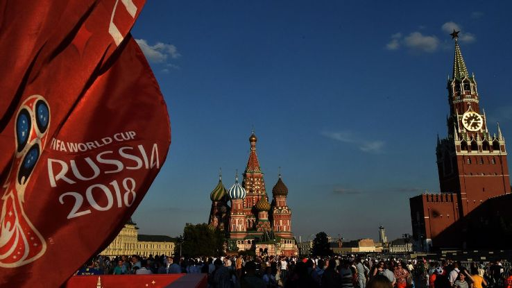 A FIFA 2018 World Cup flag flies in Moscow's Red Square.