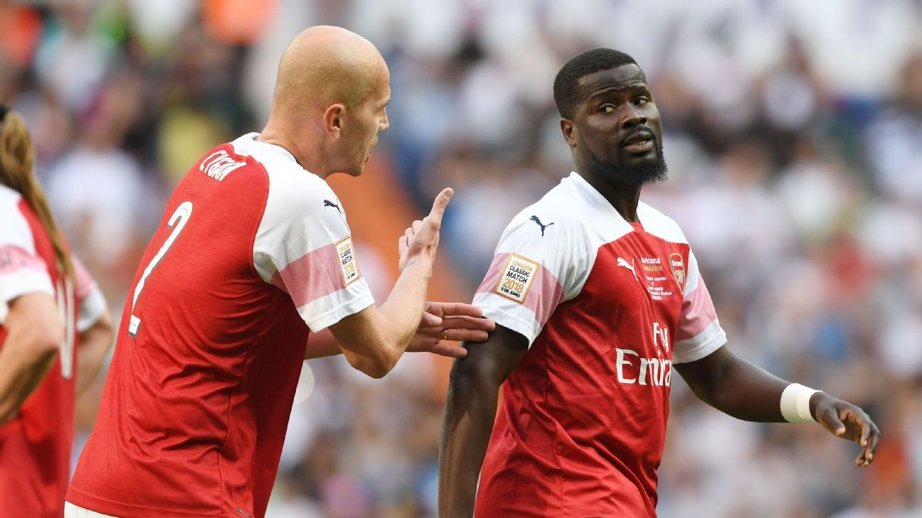 Emmanuel Eboue taking part in an Arsenal legends match.