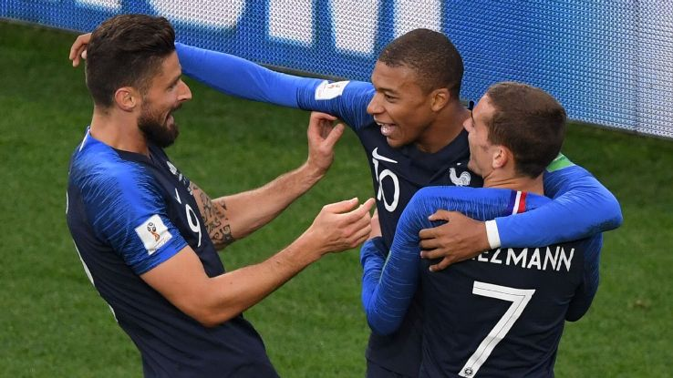 Olivier Giroud, left, Kylian Mbappe, middle, and Antoine Griezmann, right, have been effective up front for France.