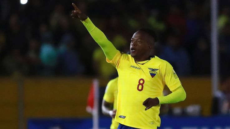 Romario Ibarra celebrates after scoring during Ecuador's World Cup qualifier vs. Argentina.