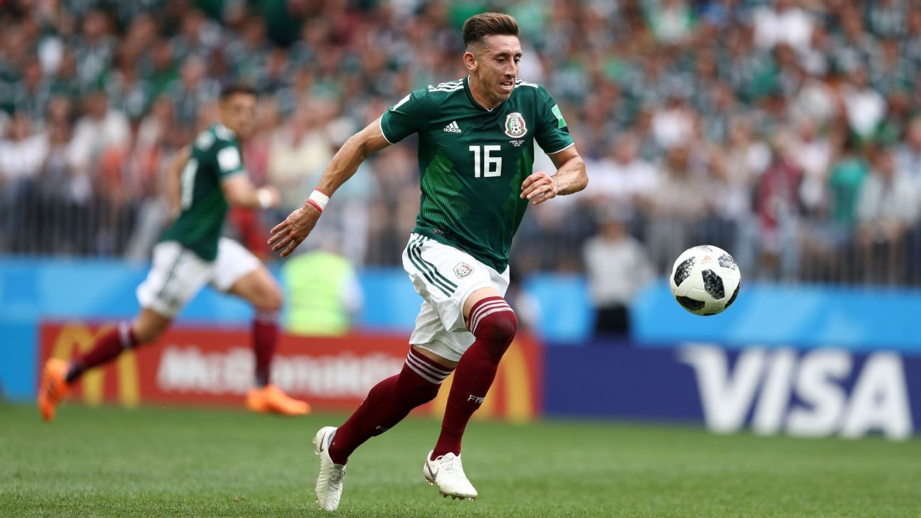 Hector Herrera dribbles during Mexico's group-stage win over Germany.