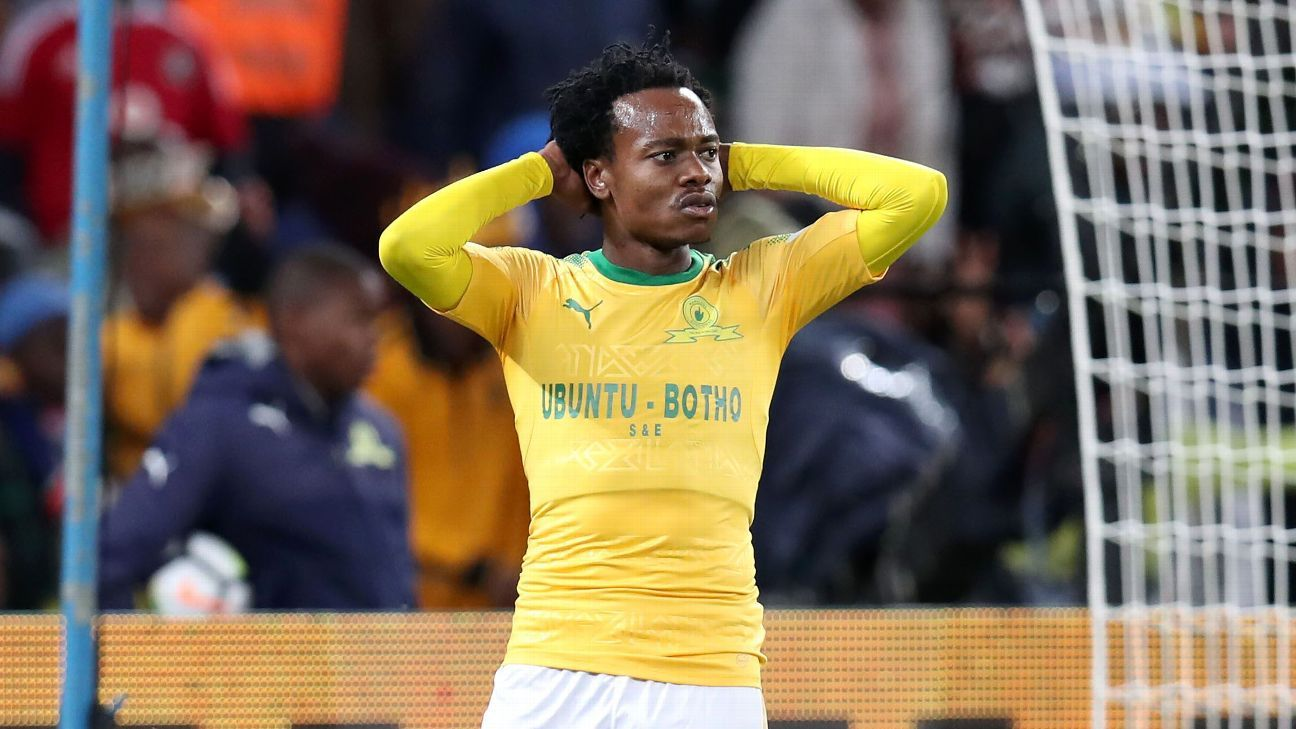 Percy Tau playing for Mamelodi Sundowns