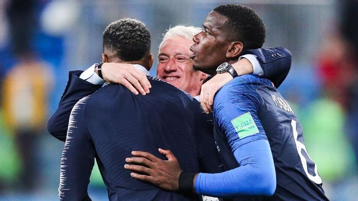 Deschamps, centre, will always be a pragmatic manager but in the likes of Pogba, right, he's got the players who can still thrive. Now they're one win from the World Cup.
