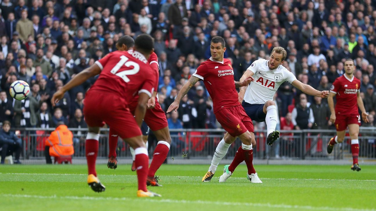 Harry Kane opened the scoring after four minutes when Tottenham beat Liverpool 4-1 at Wembley.