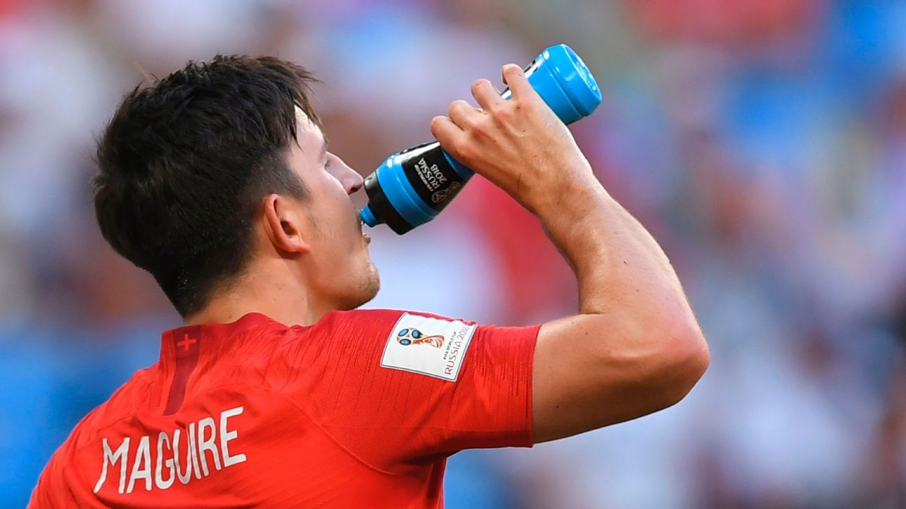Harry Maguire drinks from a FIFA-approved water bottle.