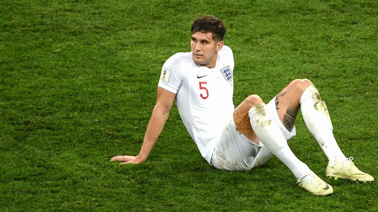 John Stones looks on after England were knocked out of the World Cup at the semifinal stage.