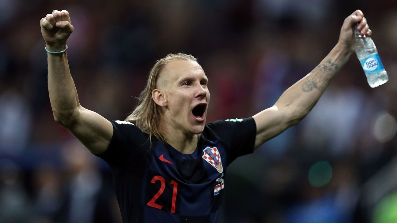 Croatia's Domagoj Vida celebrates his team's World Cup semifinal win over England in Moscow