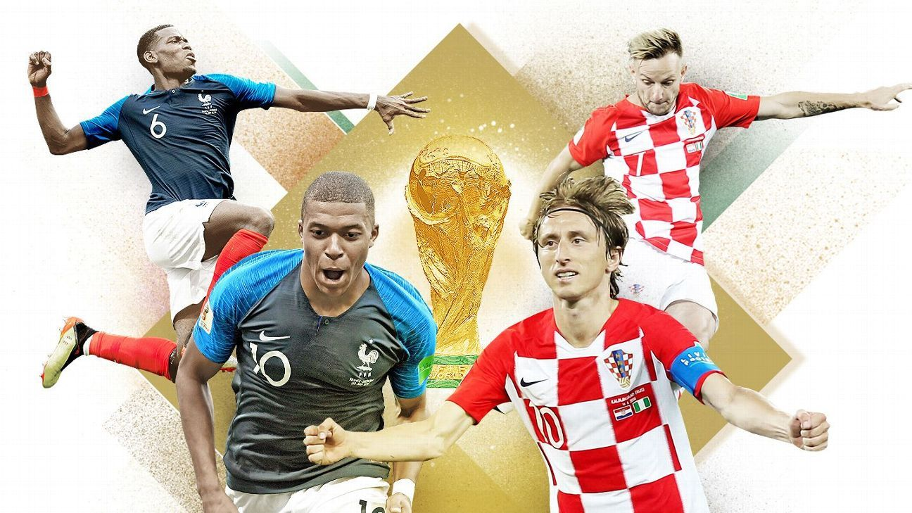 France and Croatia meet in the World Cup final on Sunday.