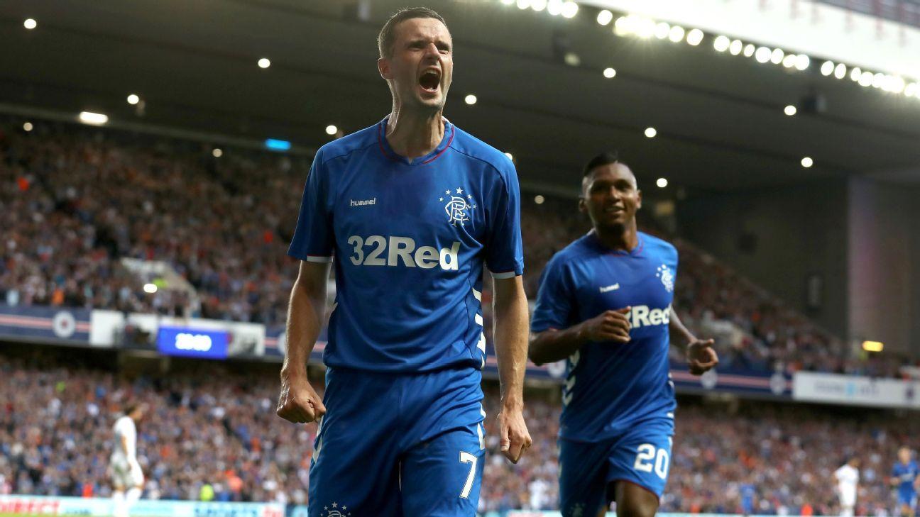 Rangers Jamie Murphy celebrates scoring.