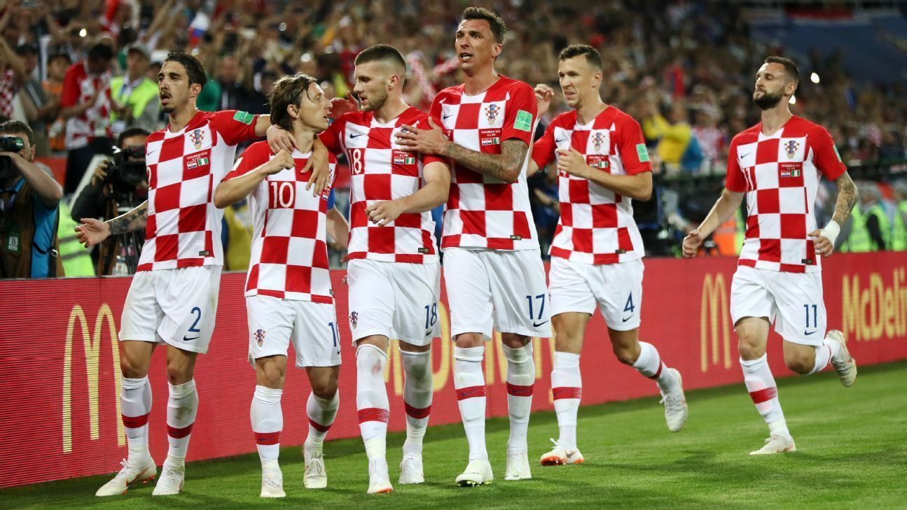 Croatian players celebrate after scoring against Nigeria in a World Cup game in Kaliningrad.