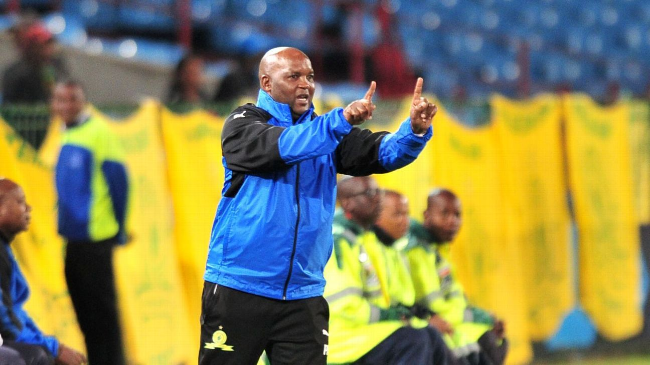 Mamelodi Sundowns coach Pitso Mosimane directs his team from the sidelines