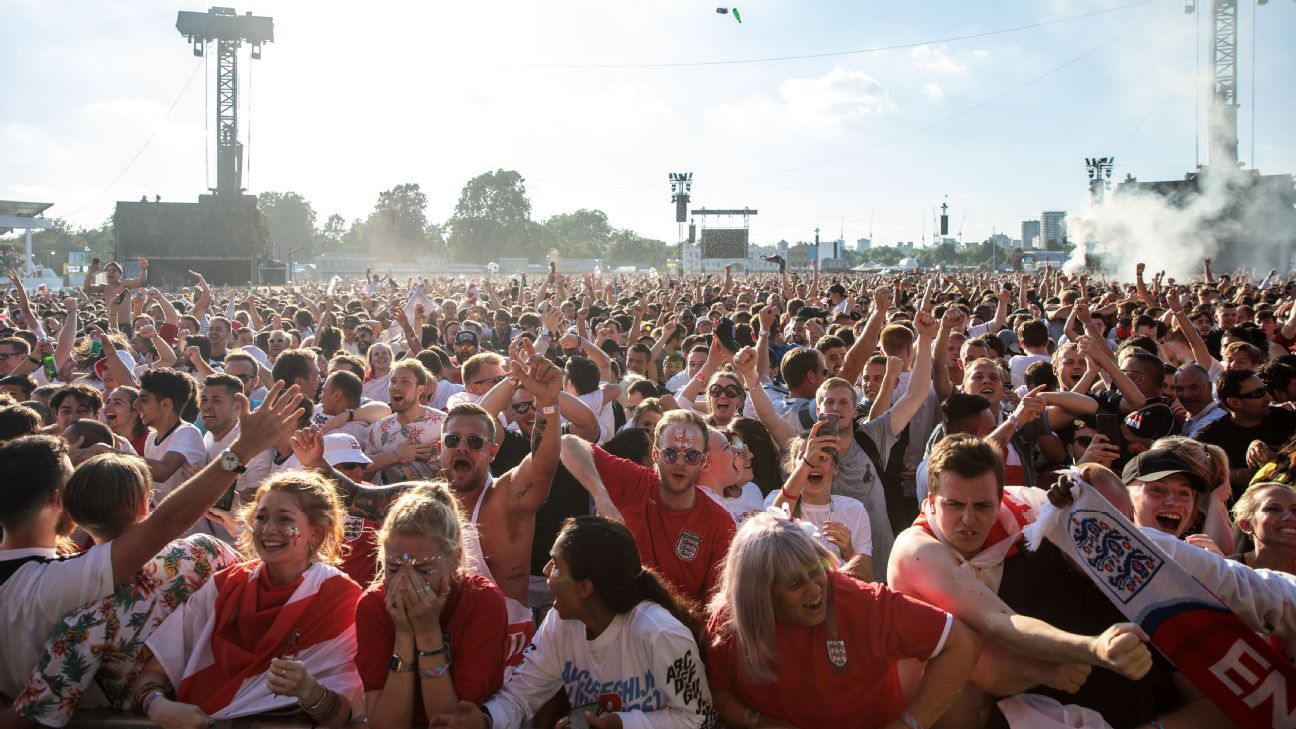 Summer of love: Fans in Hyde Park celebrate an England goal against Croatia in the World Cup semifinals.