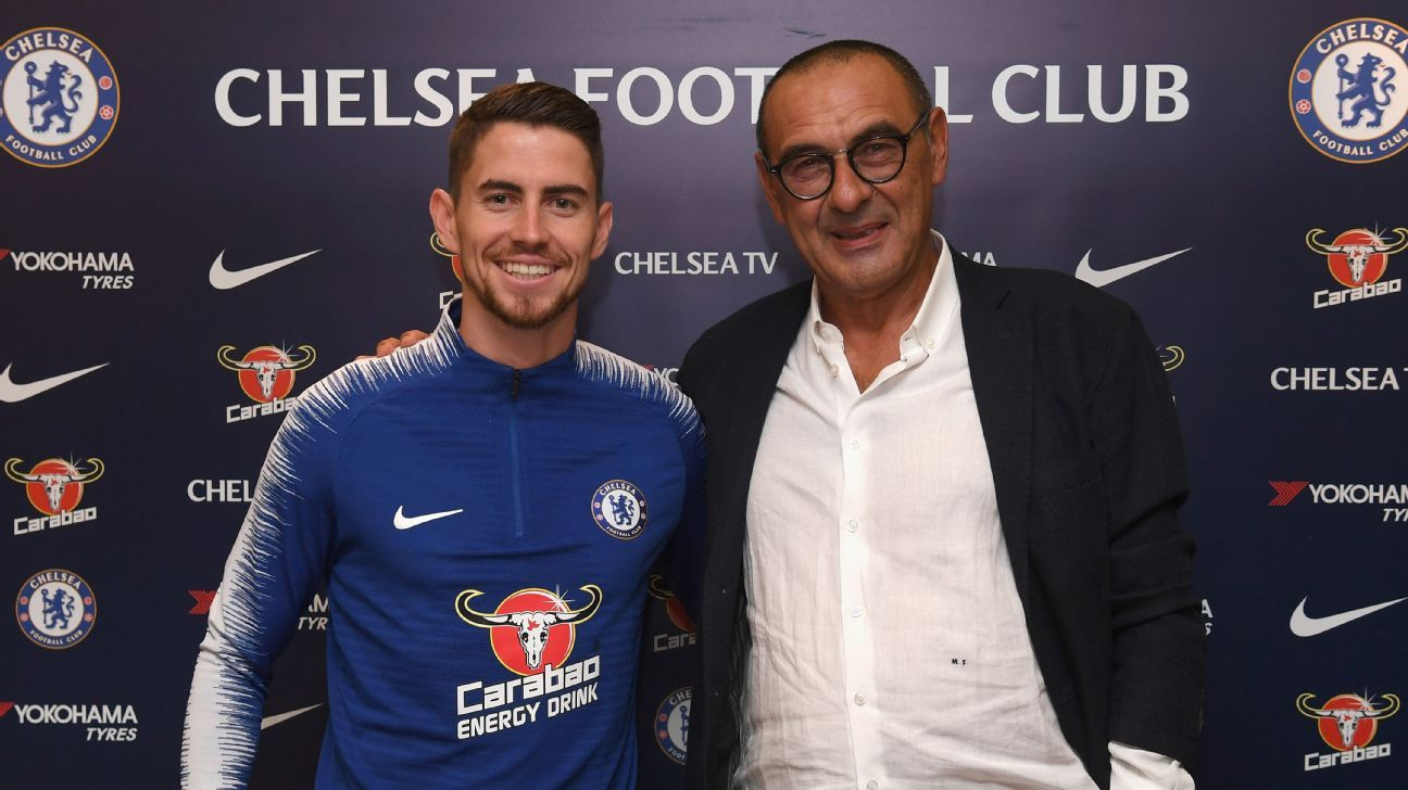 Chelsea midfielder Jorginho (left) and manager Maurizio Sarri