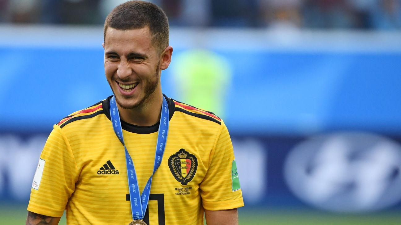 Eden Hazard celebrates after Belgium beat England in the World Cup third-place match.
