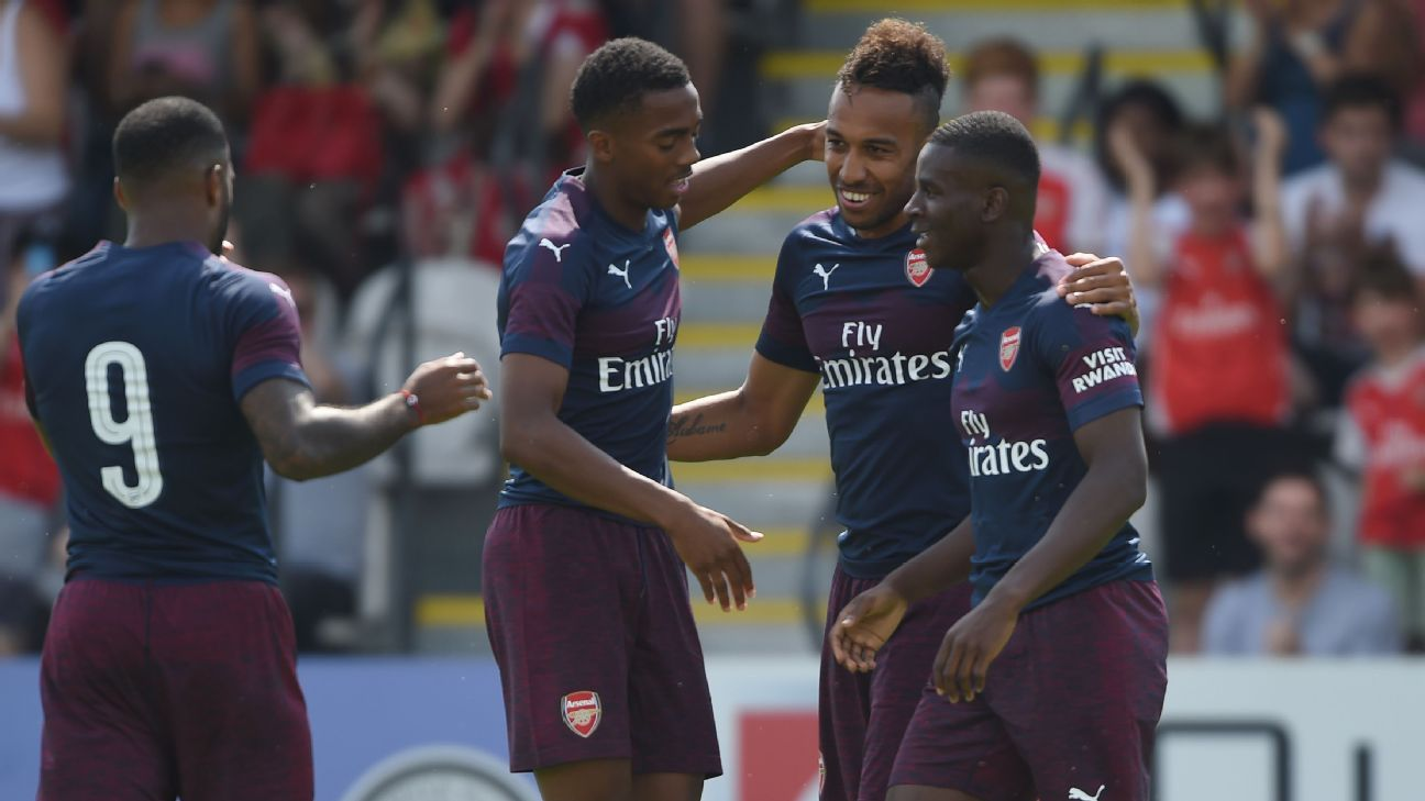Arsenal's Pierre-Emerick Aubameyang celebrates scoring their first goal during the preseason match at Meadow Park.