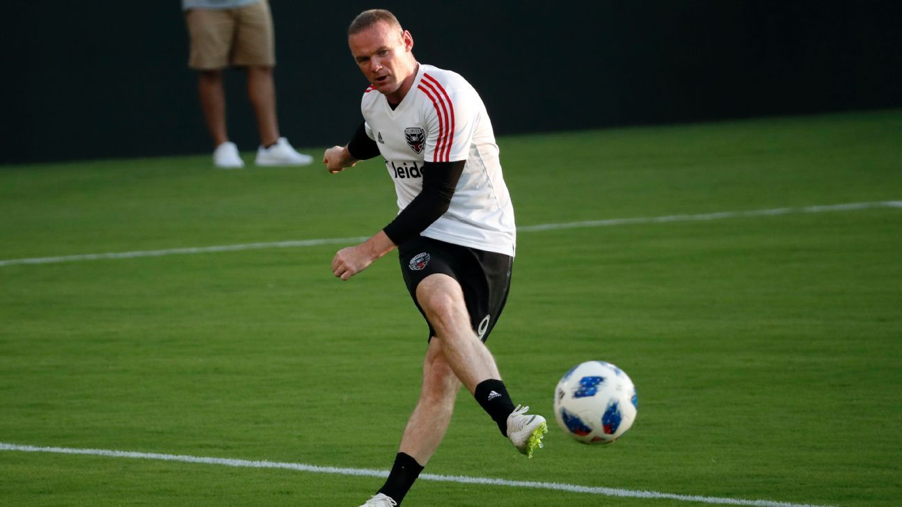 Wayne Rooney warms up ahead of his first match with D.C. United.
