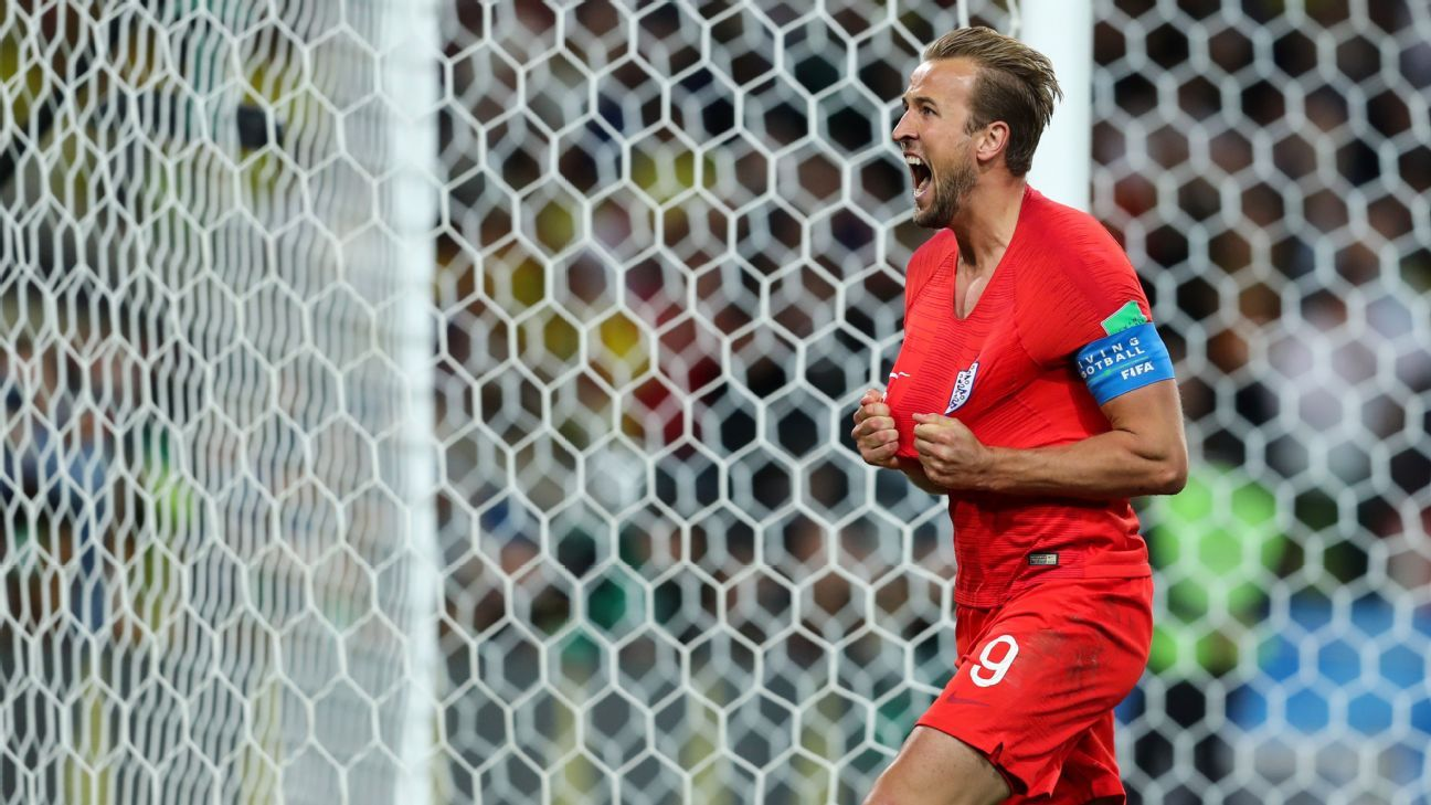 Harry Kane's penalty for England against Colombia was his sixth goal of the 2018 World Cup