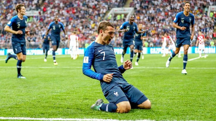 Antoine Griezmann scored as France beat Croatia 4-2 to lift the World Cup.