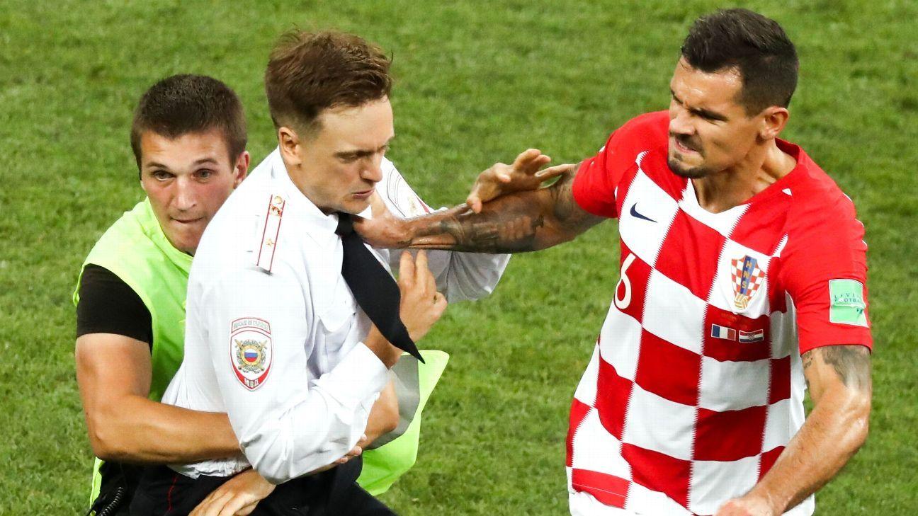 Croatia's Dejan Lovren helped security detain a protester.