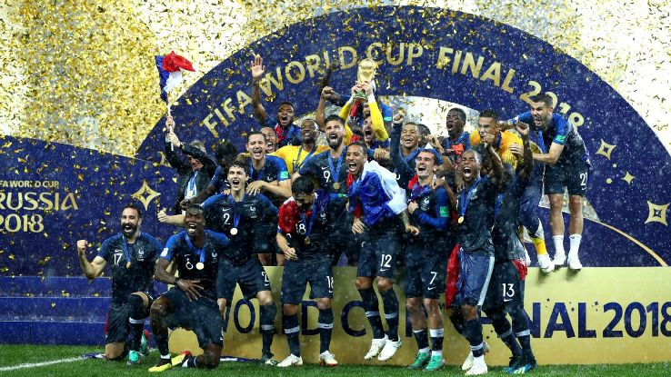 France lift the World Cup for a second time.