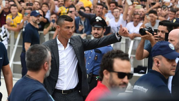 Cristiano Ronaldo arrives at the Juventus medical centre.