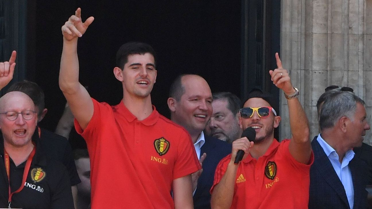 Belgium's Thibaut Courtois, left, and Eden Hazard