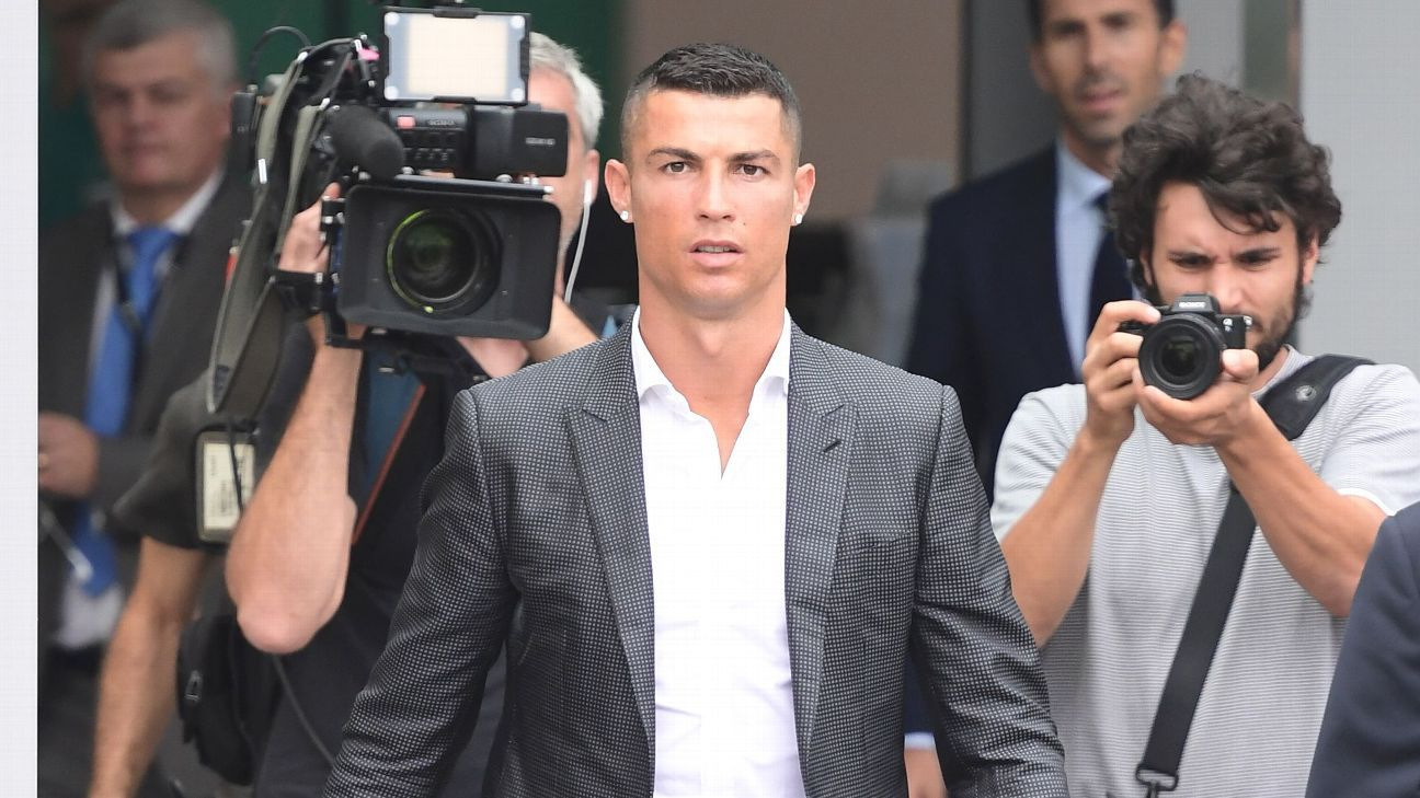 Cristiano Ronaldo arrives at Juventus' Allianz Stadium.