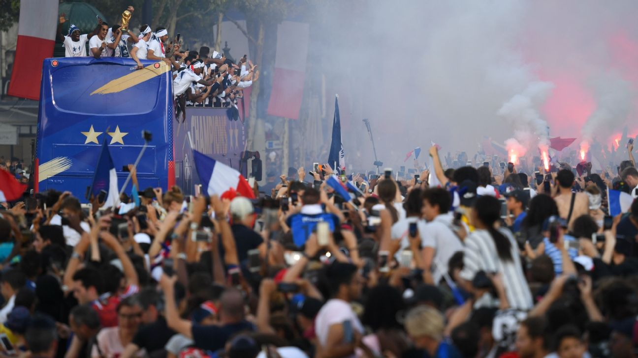 France celebrate on the Champs Elysee.