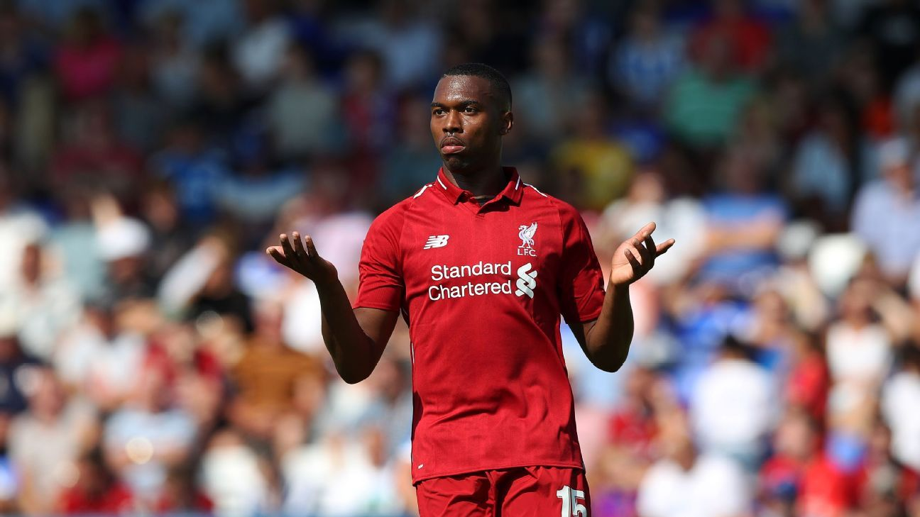 Daniel Sturridge reacts during Liverpool's preseason friendly with Chester.