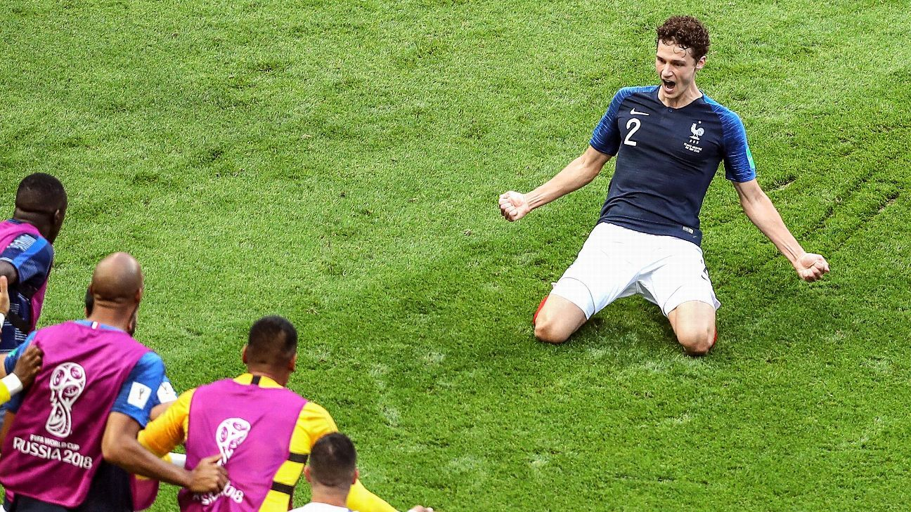 Benjamin Pavard of France celebrates after scoring one of the goals of the tournament against Argentina in their Round of 16 game.