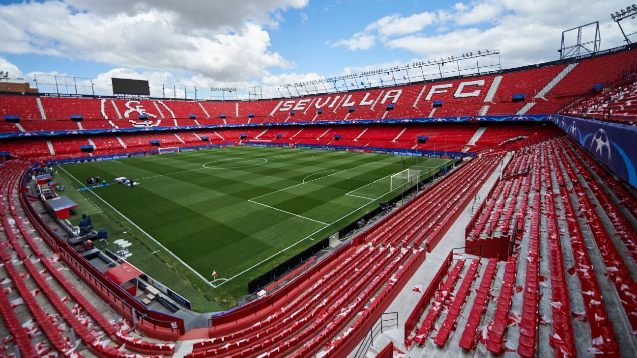 The Estadio Ramon Sanchez Pizjuan in Sevilla, Spain.