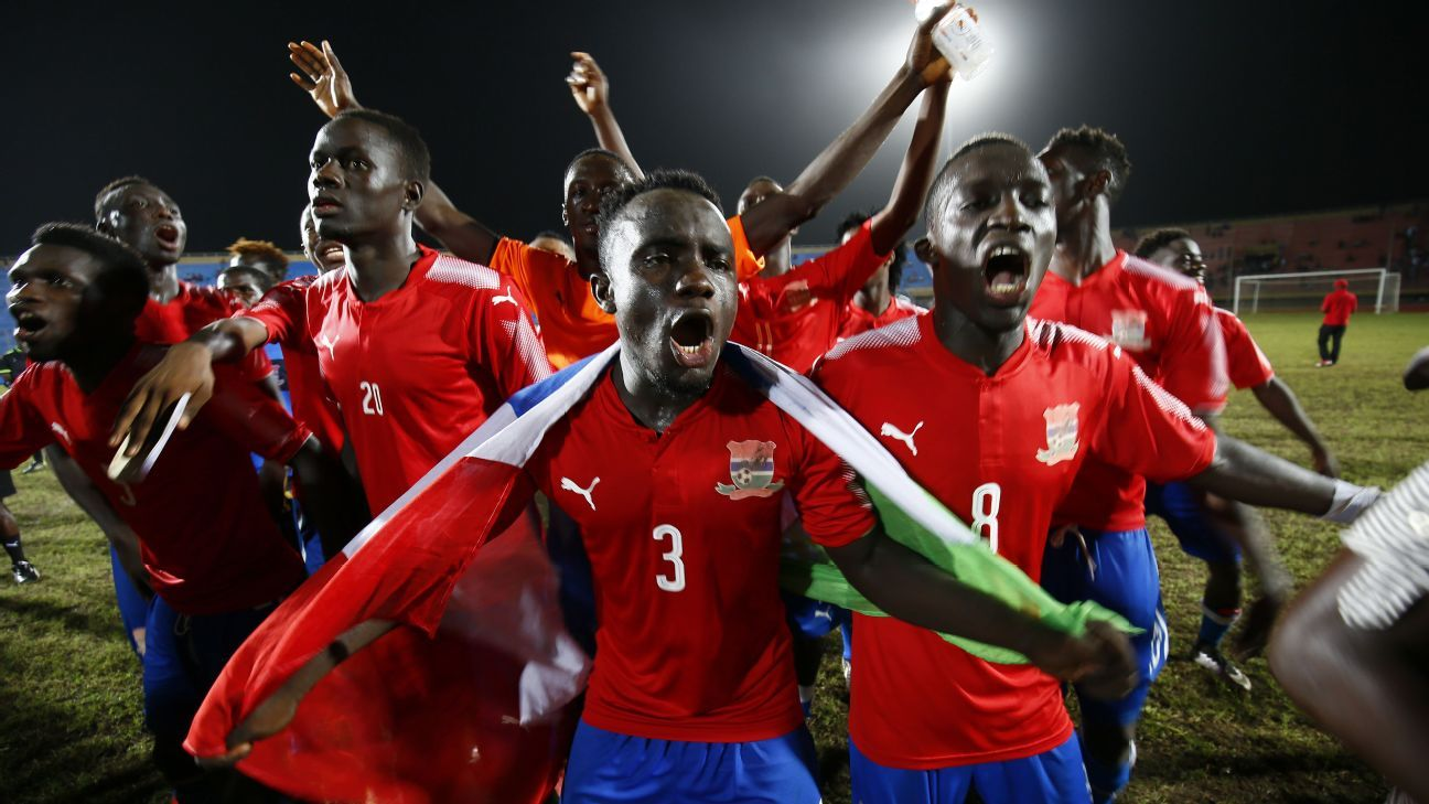 Gambian players celebrate