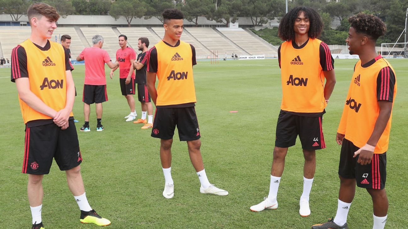 Man United are keeping quiet about Mason Greenwood, second from left, but the 16-year-old's inclusion in the preseason squad speaks volumes.