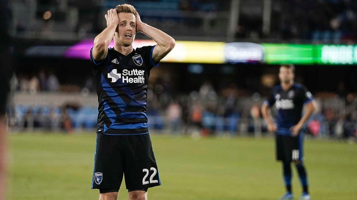 Tommy Thompson reacts during the San Jose Earthquakes' loss to LAFC.