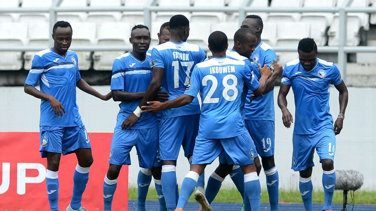 Ibrahim Mustapha celebrates his goal with the Enyimba team