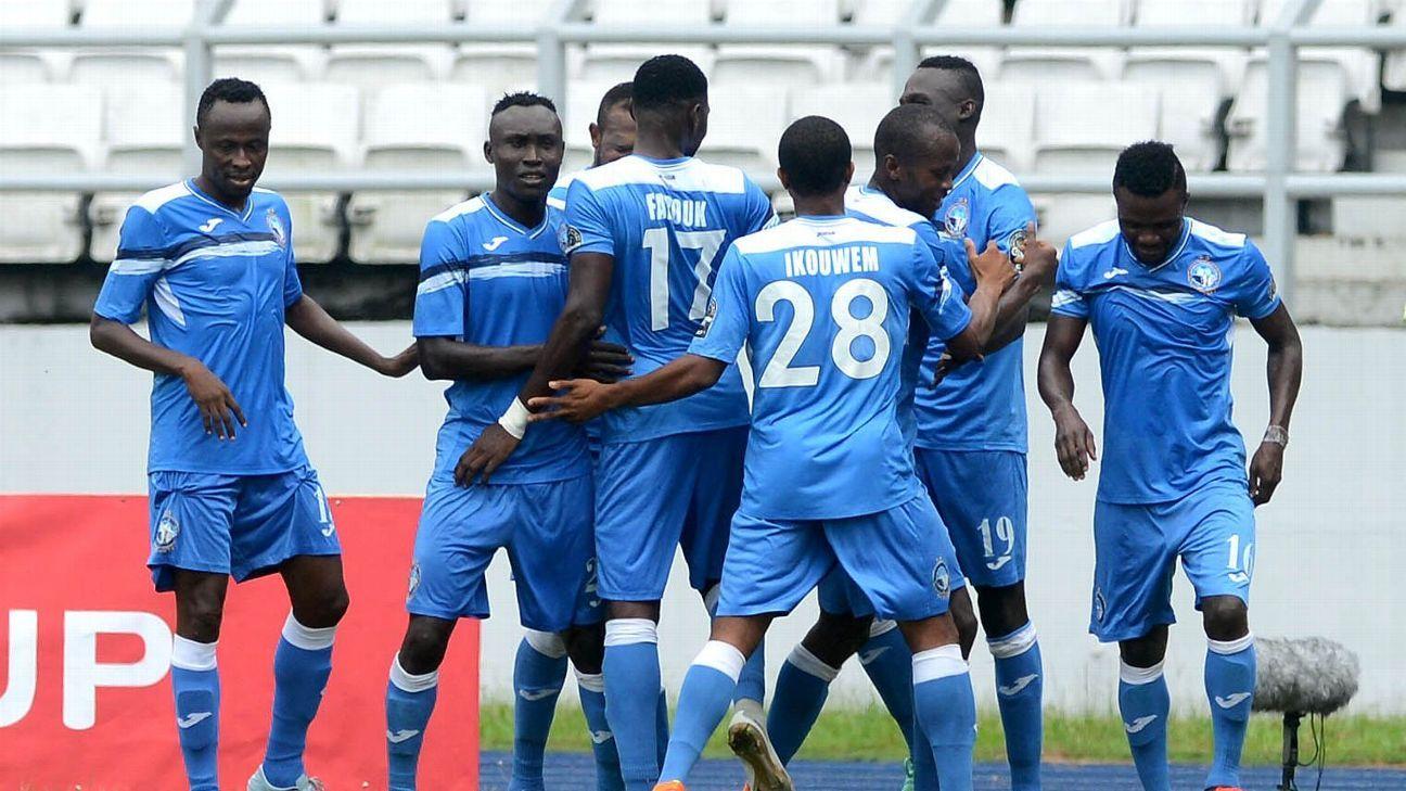 Ibrahim Mustapha celebrates his goal with the Enyimba team