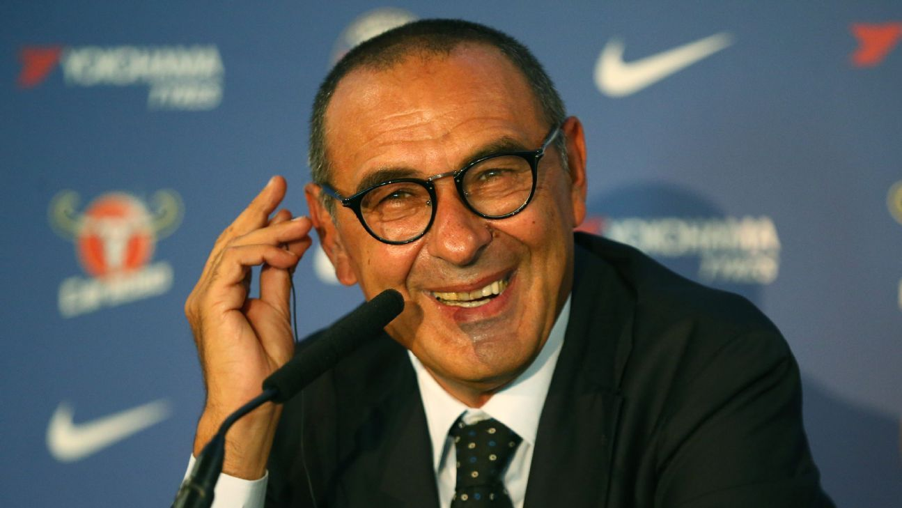 Maurizio Sarri smiles during his introductory news conference as Chelsea manager.