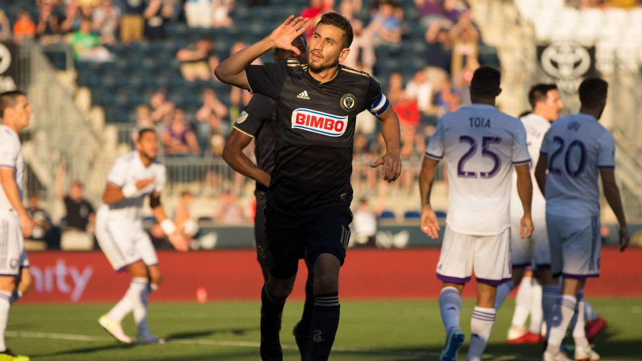 Alejandro Bedoya celebrates after scoring a goal for the Philadelphia Union in the U.S. Open Cup.