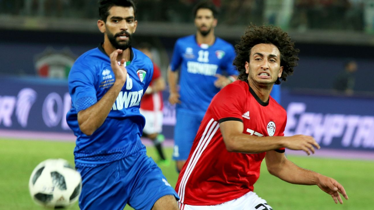 Egypt midfielder Amr Warda against Kuwait.