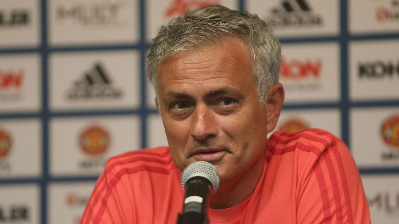 Jose Mourinho speaks during a news conference at UCLA in Los Angeles.
