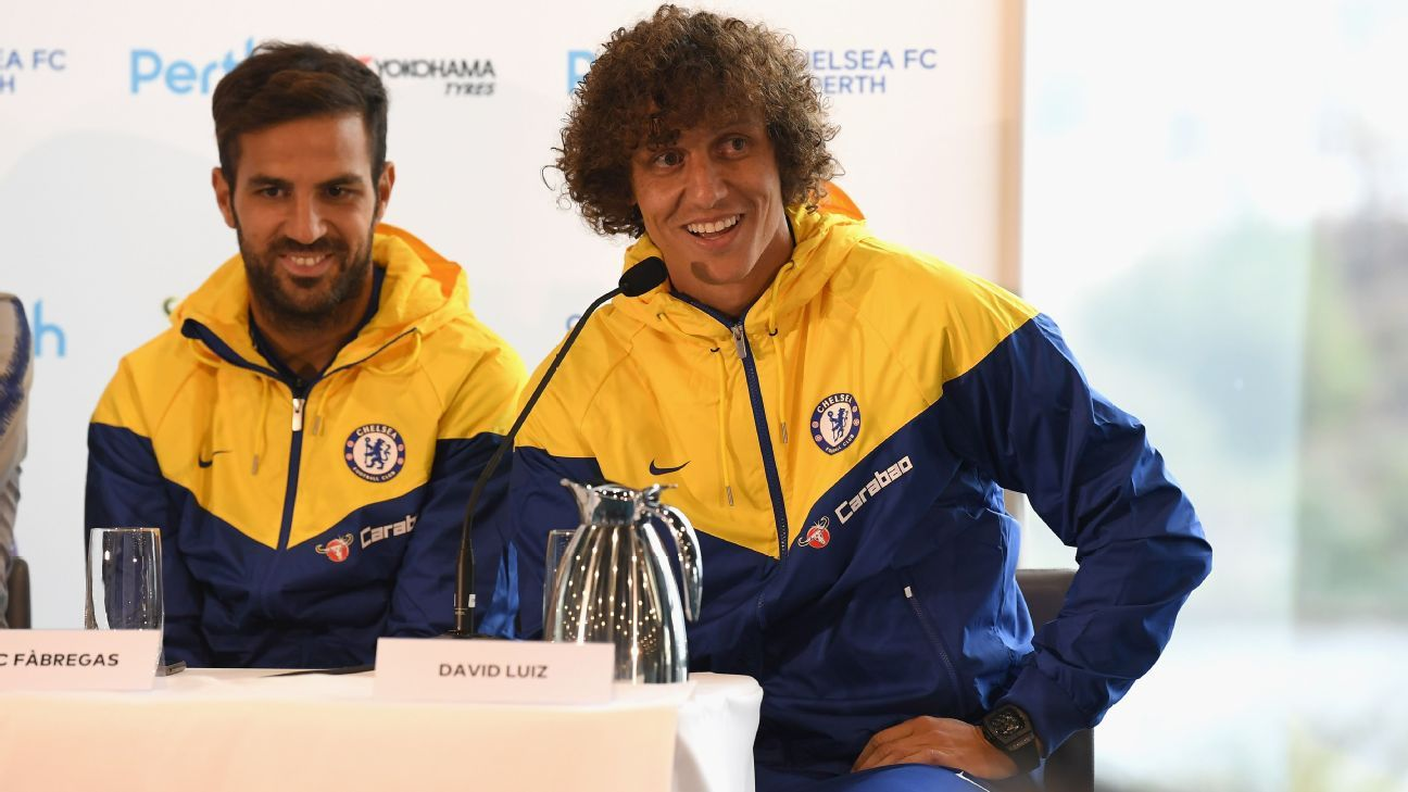 Cesc Fabregas and David Luiz speak at Chelsea's news conference in Perth.