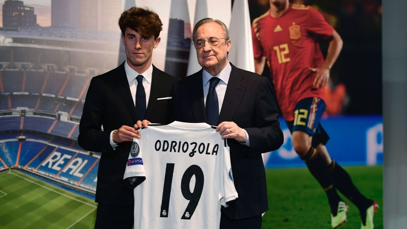Real Madrid president Florentino Perez poses with new signing Alvaro Odriozola.