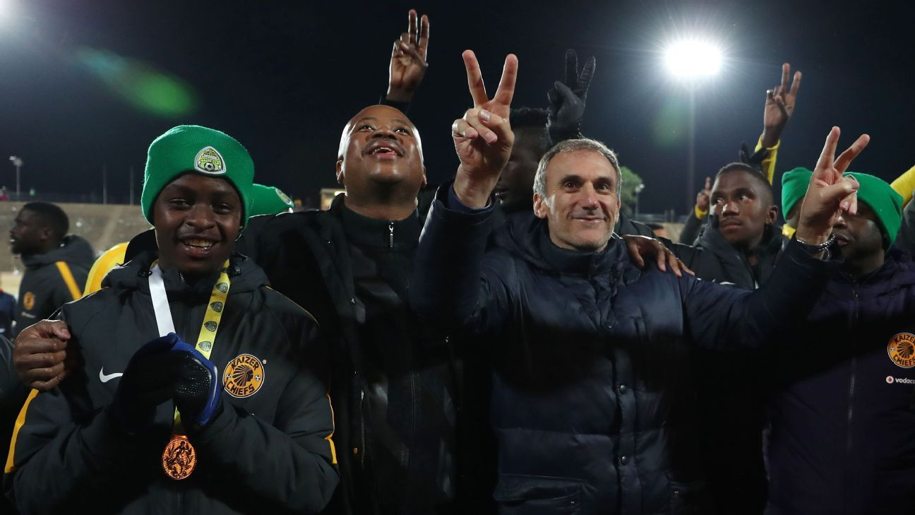 Bobby Motaung celebrates with Giovanni Solinas, coach of Kaizer Chiefs, after the 2018 Maize Cup final