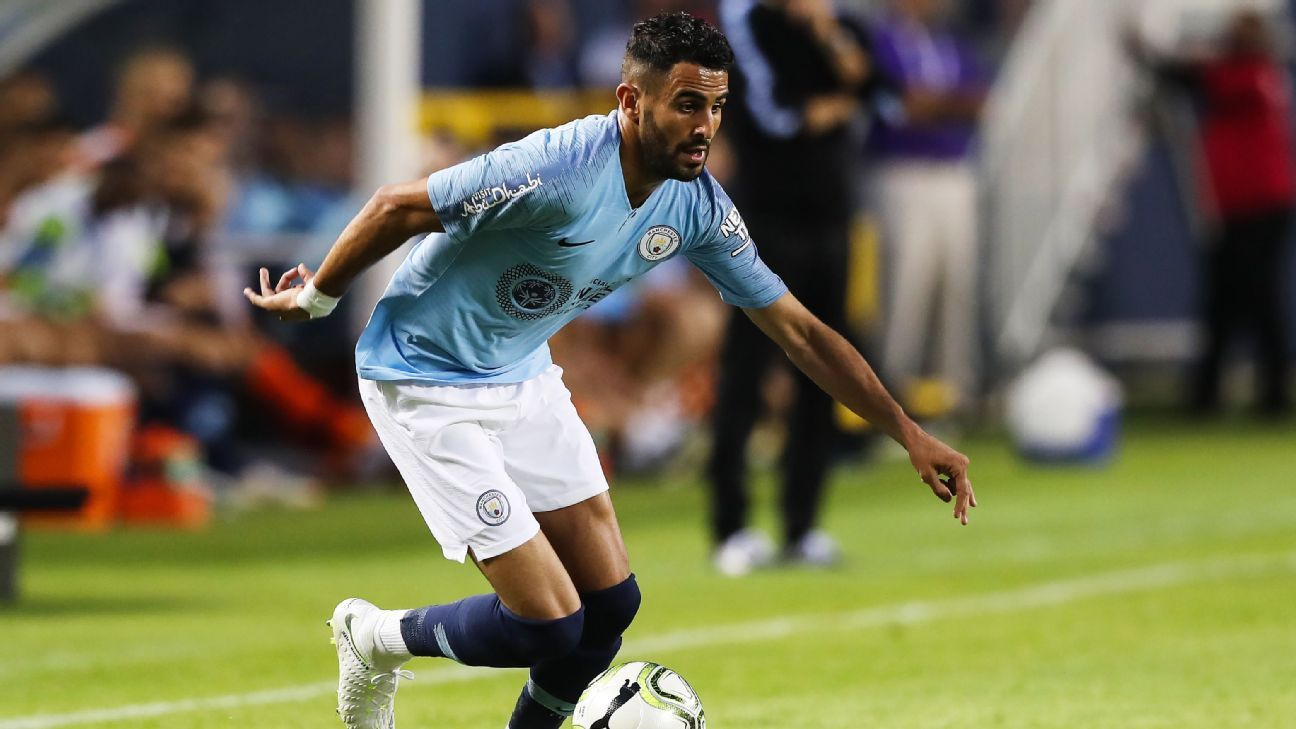 Riyad Mahrez dribbles during Manchester City's International Champions Cup loss to Borussia Dortmund.