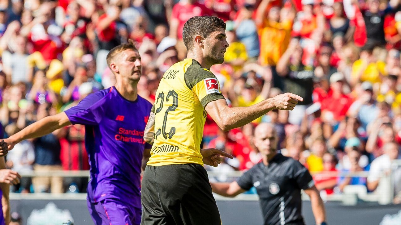 Christian Pulisic celebrates his winner vs. Liverpool in the ICC.