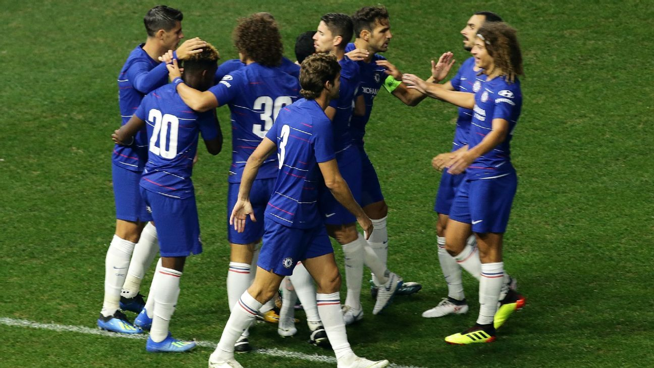 Chelsea players celebrate after taking an early lead vs. Perth Glory.