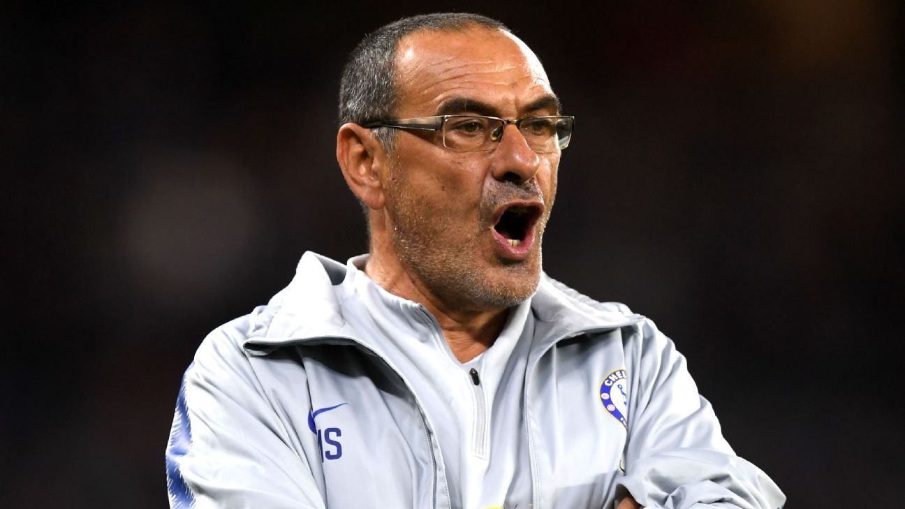 Maurizio Sarri during Chelsea's preseason friendly win against Perth Glory.